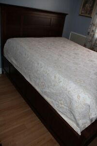 Dark cherry wood queen size bed, mattress, base and spring boxes