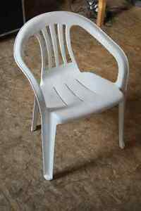 MOVING SALE - Stackable Plastic Patio Chairs - 8 available
