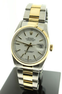 Rolex 36mm Datejust 18K Yellow Gold & Steel White Dial 16203