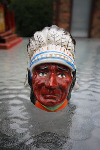 1950'S CERAMIC NATIVE INDIAN HEAD BANK NEW PRICE