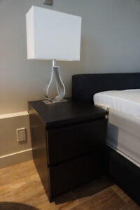 Two Black Dual Drawer Side Tables