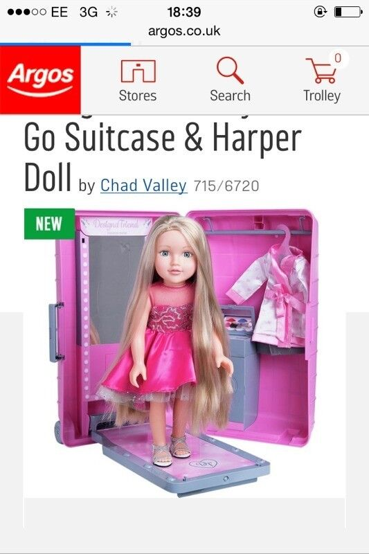 Go suitcase and harper doll