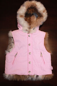 "Size 4 Pink / Faux Fur ""Reversible"" Winter Vest - New Condition"