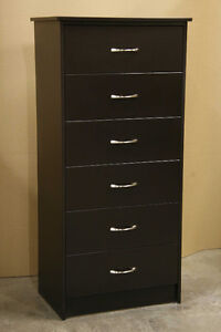 New Espresso Brown 6 Drawer Tall Dresser Chest