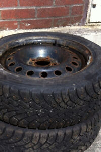 TWO. 205/55/16. TIRES ON FIVE HOLE RIMS.  $75