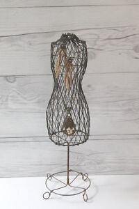 Vintage French Miniature Wire Mannequin Dress Form Jewellery