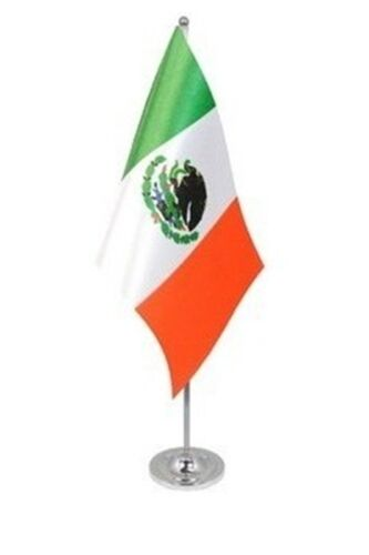"""MEXICO DELUXE SATIN TABLE FLAG 9""""X6"""" CHROME POLE & BASE Stands 15"""" MEXICAN"""