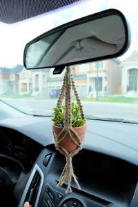 Rear View Mirror Charm | Mini Macrame Jute Plant Hanger