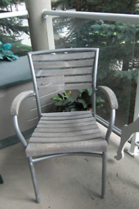 metal frame and wood slats outdoor chair