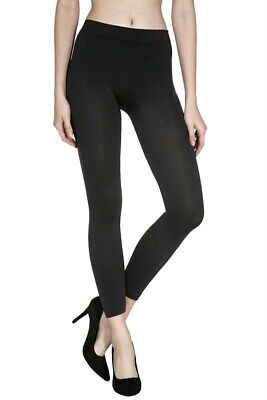 Women's Black Footless Tights Capri Length Seamless 21