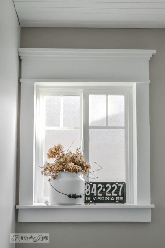 Make a farmhouse window on any frame! / part of 5 beautifully unique window treatments you can make yourself, by Funky J
