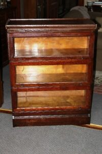 Antique Solid Oak Barristers Stacking Bookcase