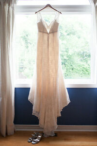Beaded Lace Wedding Dress With Cap Sleeves