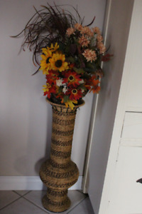 tall wicker vase with fall flowers27 inches tall