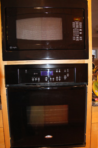 """27"""" Black Wall Oven & Built-In Microwave Set"""