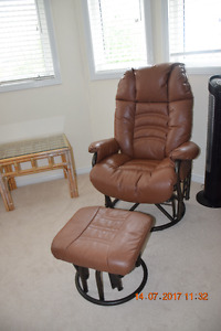 100% leather rocking and reclining chair with rocking ottoman