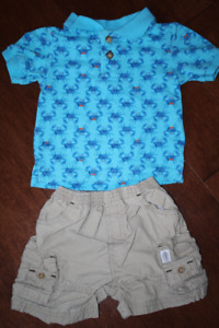 Khaki Cargo Shorts and Crab Golf Shirt - 6-9 Months