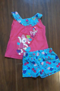 Disney Baby Girl Pink and Blue Piglet Short Set Size 3 Months