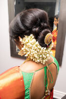 Hairstyle, Makeup, Saree pleating and dressing