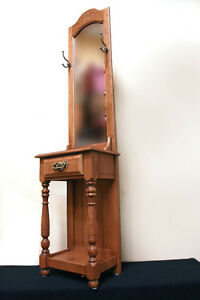 Perfect Maple Colonial Hall Tree Coat Rack  w/ Drawer SEE VIDEO