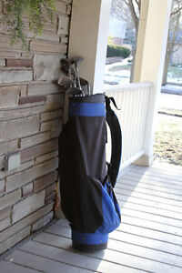 left-handed set of clubs, with bag