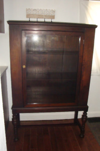 Refinished Antique Glass Door Display Cabinet