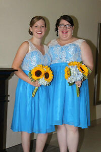 2 Blue and White Bridesmaid Dreses