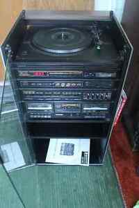 VINTAGE 80's SANYO STEREO SYSTEM WITH TURNTABLE and CABINET