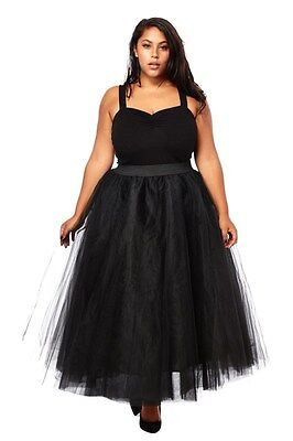 PLUS SIZE Sexy TuTu Tulle A-Line Pleated Ankle Long Tea Skirt BLACK 1X 2X 3X  ()