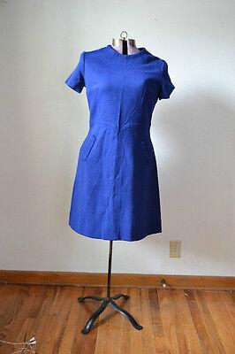 TRUE VINTAGE 1960s 60s Blue Dress Retro Medium Costume Wool
