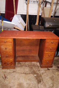 Small Wooden Desk With a Drop Leaf