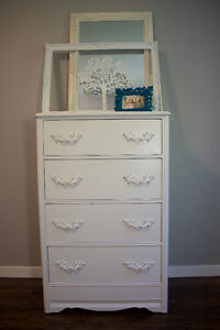 Gorgeous Tall White Vintage Dresser - Refinished