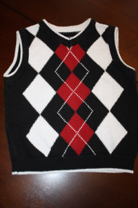 V-Neck Argyle Sweater Vest- 3T