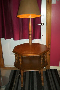 Vintage double wood table with a lamp