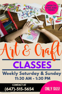 Art & Craft Classes for kids & teens!-LOWEST prices for variety!