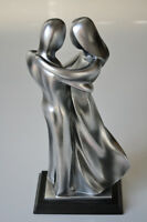 """Silver Abstract 13"""" High Dancing Couple Sculpture"""