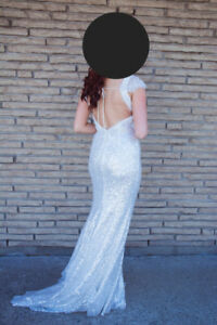 Evening Gown/Prom Dress/Wedding Dress White Sequins Low Back