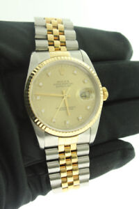 Rolex Datejust 18K Gold & Steel 36mm Champagne Diamond 16233