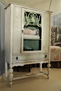ANTIQUE DISPLAY CHINA CABINET, REFINISHED, FRENCH COUNTRY STYLE