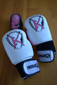 Brand new leather boxing gloves and hand wraps