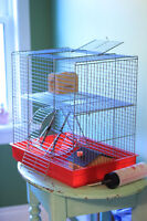 Hamster Cage with Furniture and Accessories