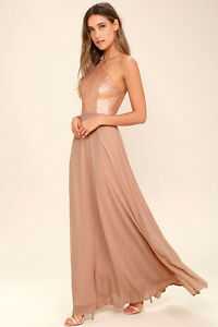 Worn Once: Rose Gold Blush Maxi Dress - Formal / Bridesmaid
