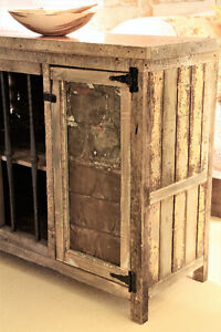RUSTIC BUFFET STYLE CABINET, HAND CRAFTED, WEATHERED WOOD