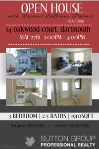 OPEN HOUSE SUNDAY MAY 27TH 2PM-4PM: 14 OAKWOOD COURT, DARTMOUTH