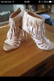 SIZE 6 CREAM SUEDE TASSLED ANKLE SANDALS IMMACULATE CONDITION