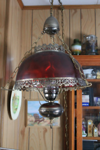 Hanging Lamp with Cranberry-coloured Dome