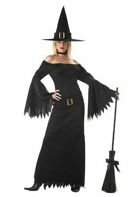 CALIFORNIA COSTUME~WOMENS BLACK ELEGANT WITCH HAT DRESS COSTUME~XL 12 14~NWT - Elegant Witch Costume
