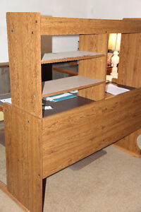 Desk with return and shelves