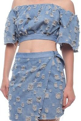 Blue Distressed denim skirt wrap set