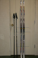 youth salomon x-country skis, bindings & poles